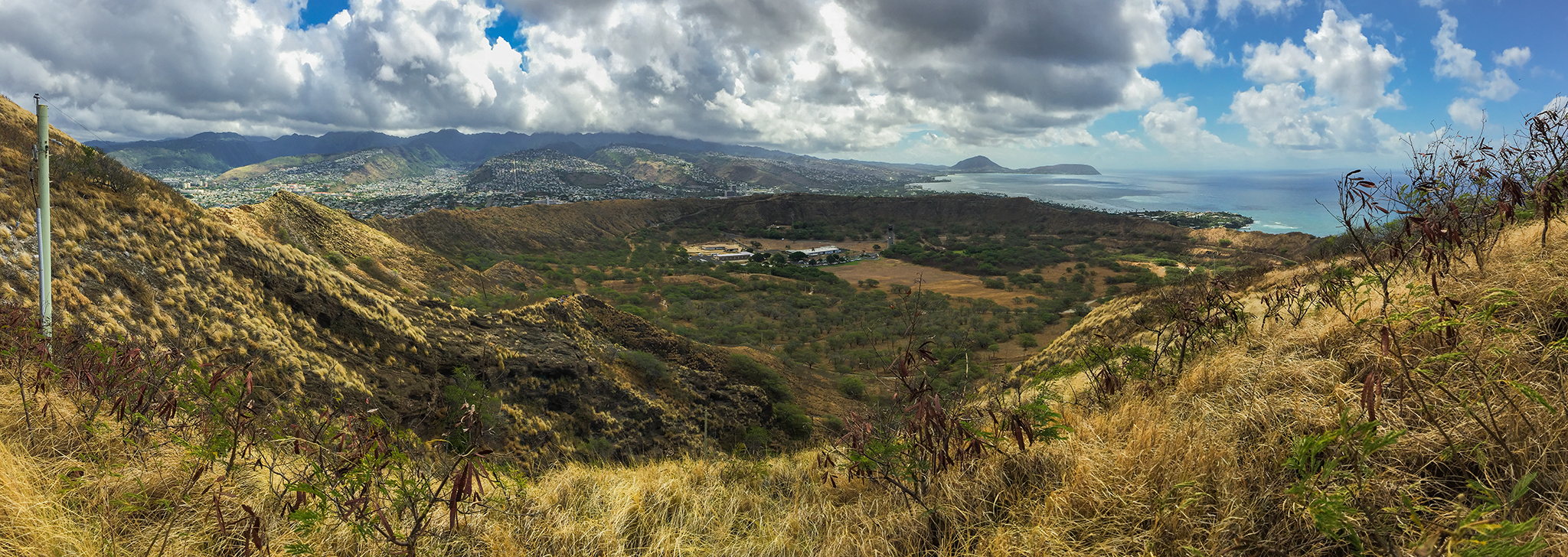 Panoramic view of Diamond Head Crater from trail summit