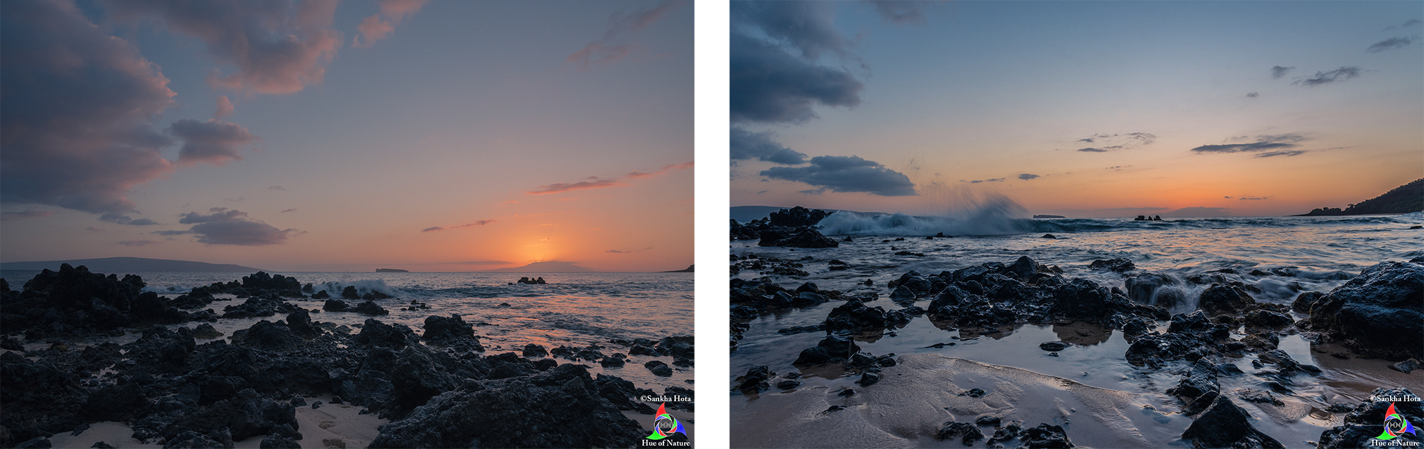 Sunset (left), After sunset (right) at Makena Beach