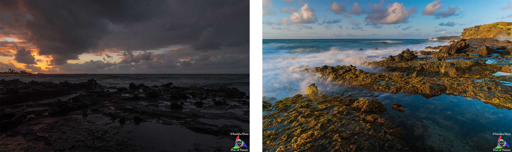 Sunrise (left) and after sunrise (right), Sandy Beach, Day 2