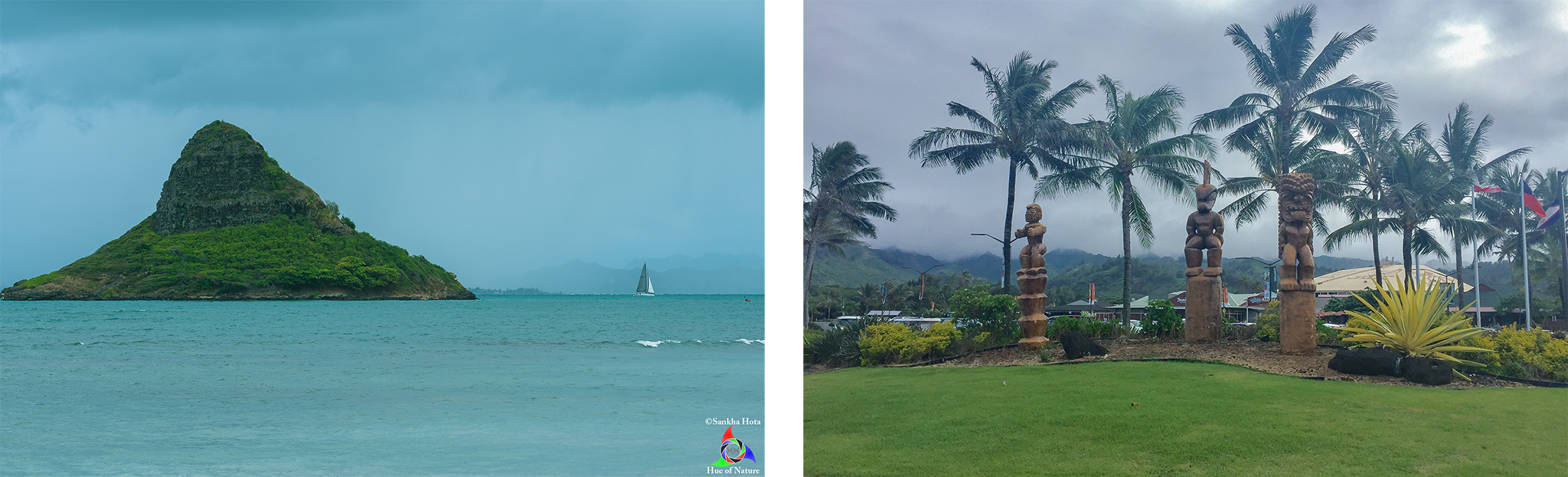 Chinaman's hat (left) and Maui art near the entrance of Polynesian Cultural Center (right)